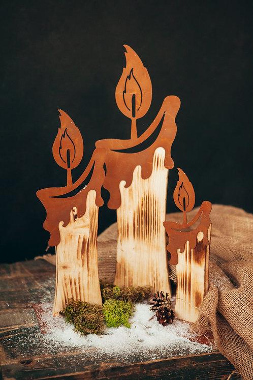 Holzkerzen auf Platte Gr. I, Gr. II & Gr. III
