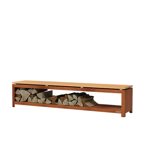 CORTEN-Holzlager mit Bank rostfarbrig