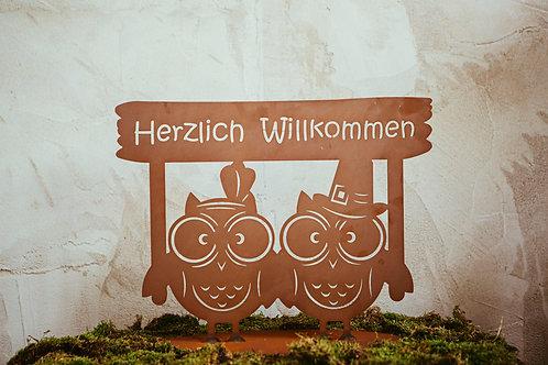 """Eulenpaar """"Herzlich Willkommen"""""""
