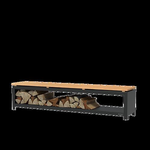 CORTEN-Holzlager mit Bank schwarz