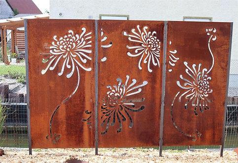 Sichtschutzwand 3-teilig Muster Blumen