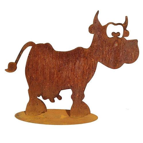 Kuh Alma auf Platte Edelrost