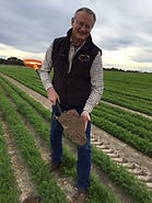 ID Services LLC Co-Founder Alan Butterfield taking a soil sample for carrots