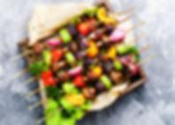 Grilled vegetable kebabs on skewers with