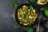 Avocado, quinoa, roasted sweet potato, s