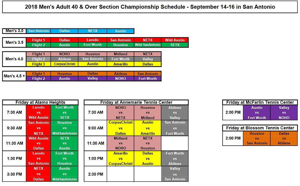 Men's 40+ Sectional Schedule.JPG