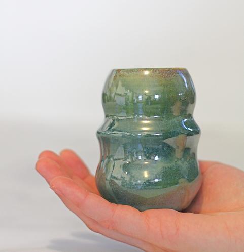 Metallic green bud vase