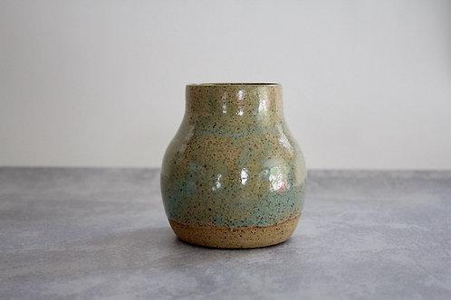 Speckled aqua vase