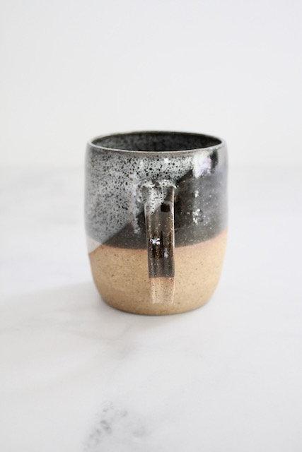 Speckled black & white mug