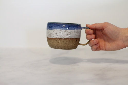 Speckled white & blue mug