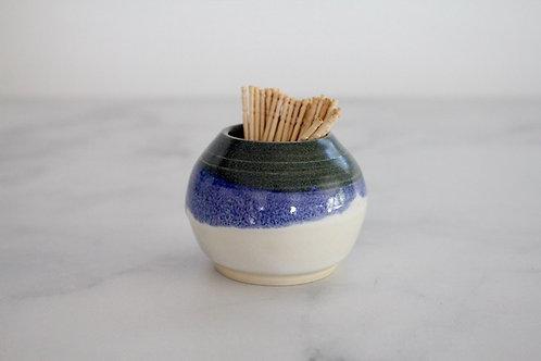 Small denim blue bud vase