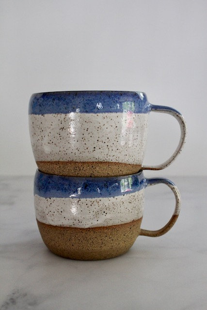 Blue & white speckled mugs (set of 2)
