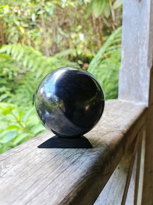8cm Polished Shungite Sphere (w/ Small Stand)