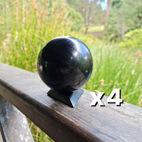4 x 10cm Polished Shungite Sphere (w/ Large Stand)