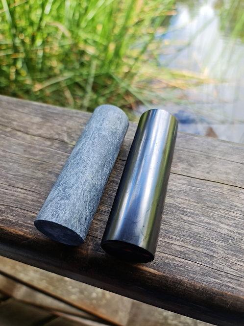 Polished Shungite and Selenite Harmoniser Cylinder Set