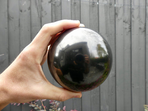 10cm Polished Shungite Sphere (w/ Large Stand)