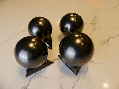 4 x 6cm Polished Shungite Sphere (w/ Small Stand)