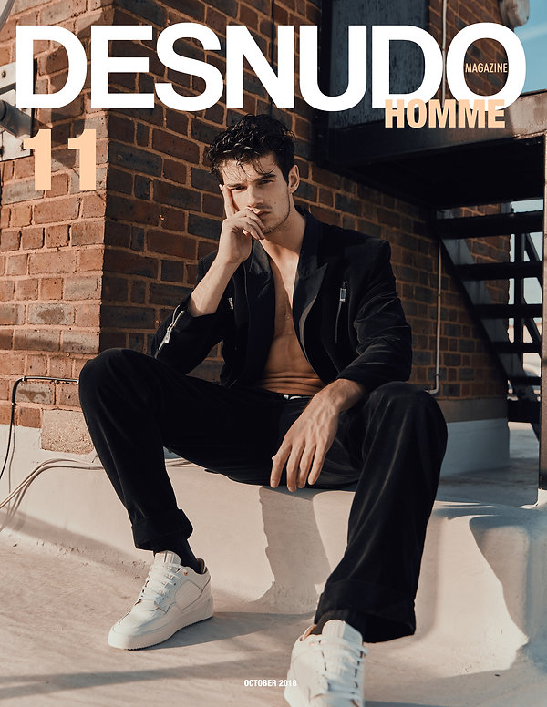 Desnudo homme magazine cover story fashion mens fashion suit black editorial roof top sun summer brick fashion styling mens styl body muscle