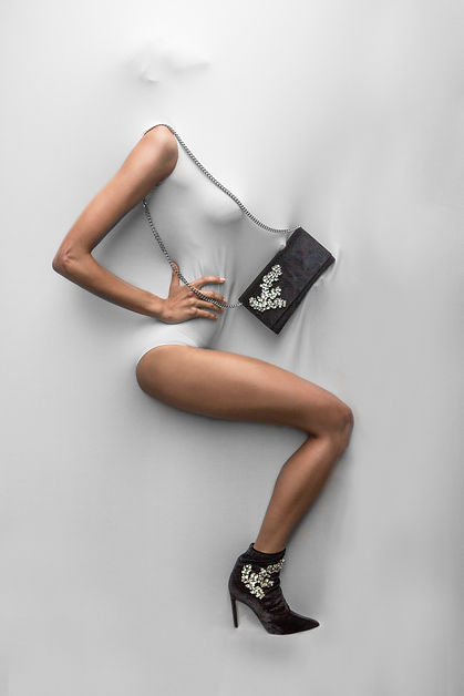 Fashion jewelry earrings fabric model female campaign solar fasion editorial 24 carrot silver leg boot heel giuseppe zanotti