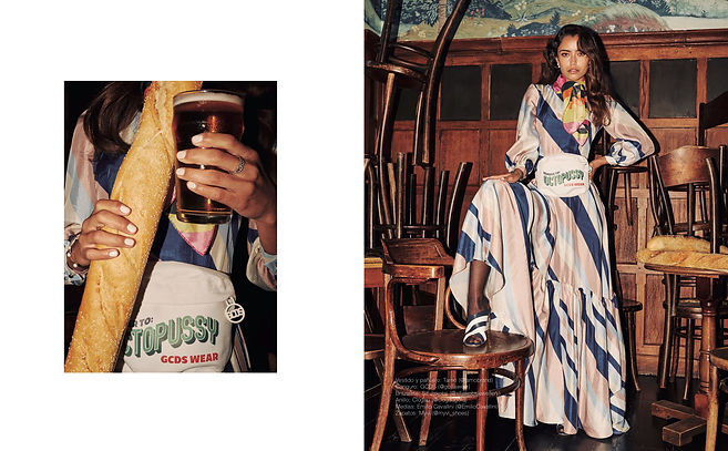 exclama fashion story editorial diesel amiri giuseppe zanotti fish net gcds pub english beer tartan octopussy buger mcdonalds 70's 80's les hommes gentle monster banna fur clown fun kitchen fish