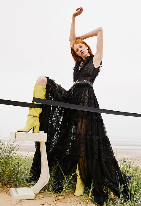 solar beach story editorial womens fashion style styling spanish seaside phillip plein black story missoni grass louis vuitton dsqaured2 dsqaured vesace suit black sea
