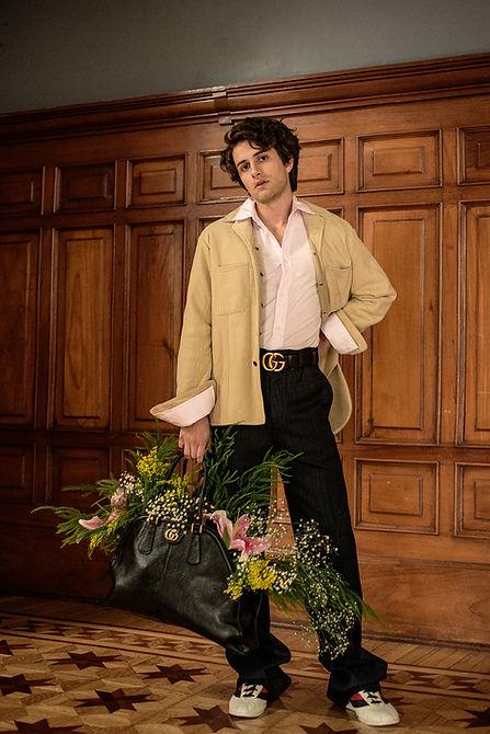 Dario yazbek bernal solar magazine story editorial gucci ferragamo actor mexico city cdmx fashion mens clothing flowers the house of flowers la casa de las flores
