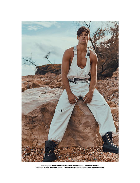 elliot Meeten mmscene cover stoy rebel missoni fasion editorial menswear fahion style styling london top model dsqaured gcds diesel liam hodges beach farm shoot goin west story off white