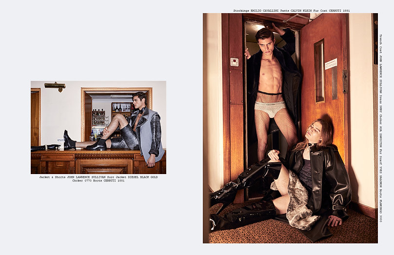 risk role play editorial menswear gender flower suits leather chains hotel menswear style styling fishnets martin grant calvin klein diesel tom ford