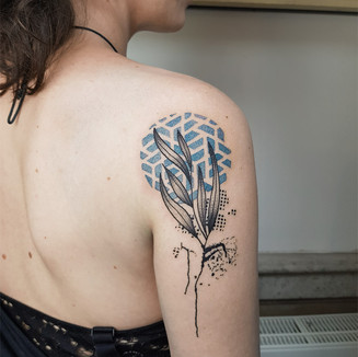 plant and pattern color tattoo geometric