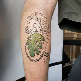 tropical graphic tattoo leg colour leaf