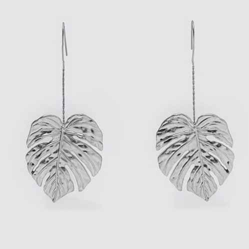 Silver Palm Leaf Dangle Earrings