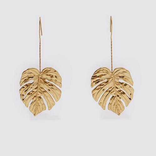 Gold Palm Leaf Dangle Earrings