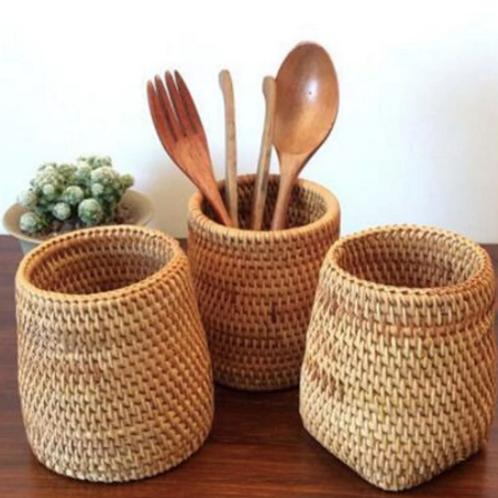 Handmade Rattan Utensil Holder
