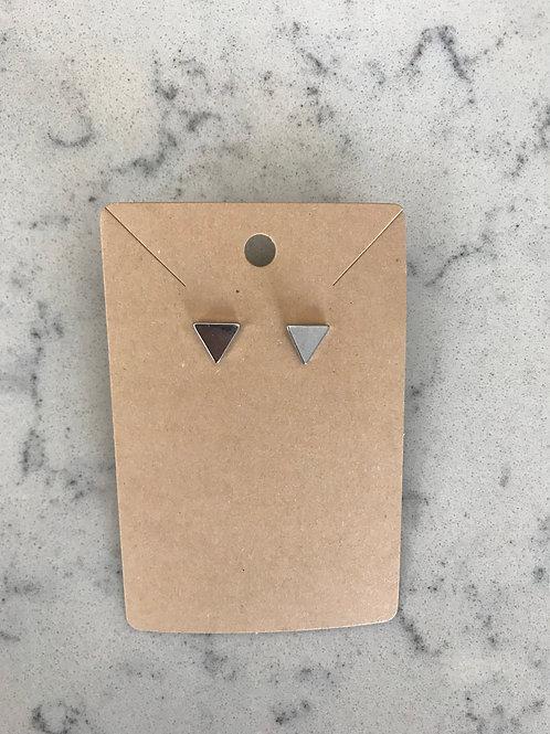 Silver Minimalist Triangle Studs