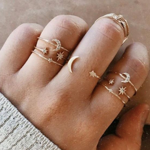 Love You to the Moon Ring Set