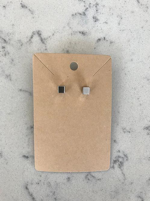 Silver Minimalist Square Studs