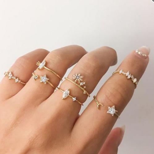 Amara Crystal Ring Set