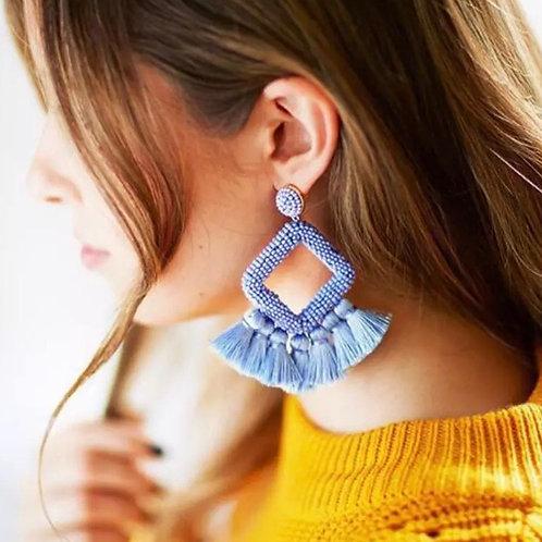 Periwinkle Blue Tassel Earrings