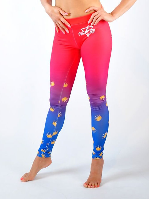 Legginsy Pole Dance Queen Rozowo-niebieskie