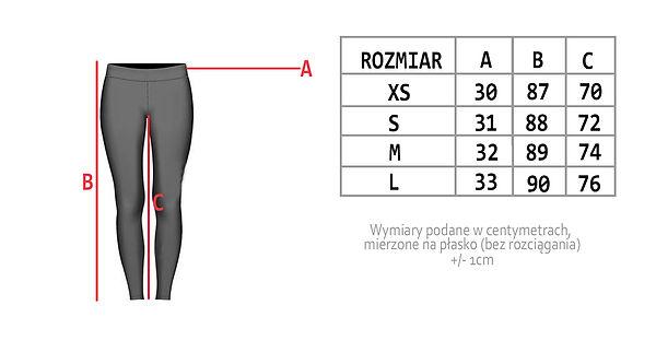 Tabela wymarów legginsy leginsy, sportwear, workoutwear, strój sportowy, legginy na indywidualne zamówienie, pole dance wear,