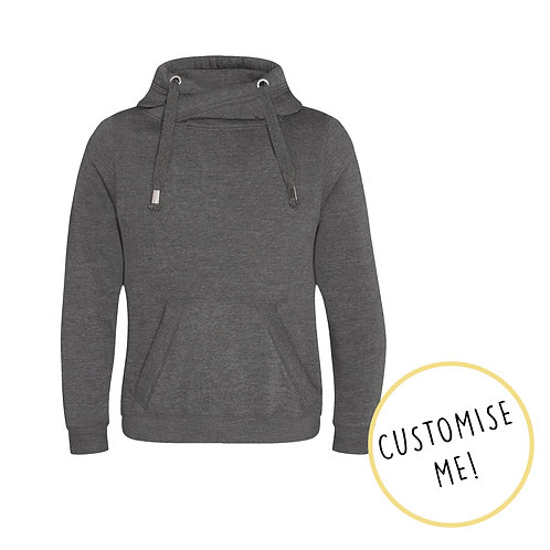 Plain or Custom Print Grey Cowl Neck Hoodie