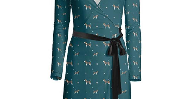Multi Print Wrap Dress - Busy Beagles