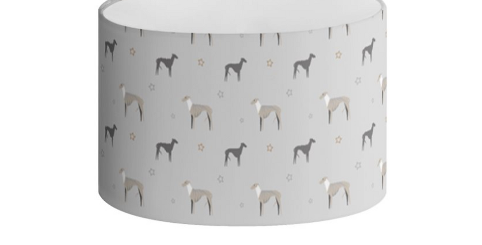 Grey Oval Lampshade - Whimsical Whippets