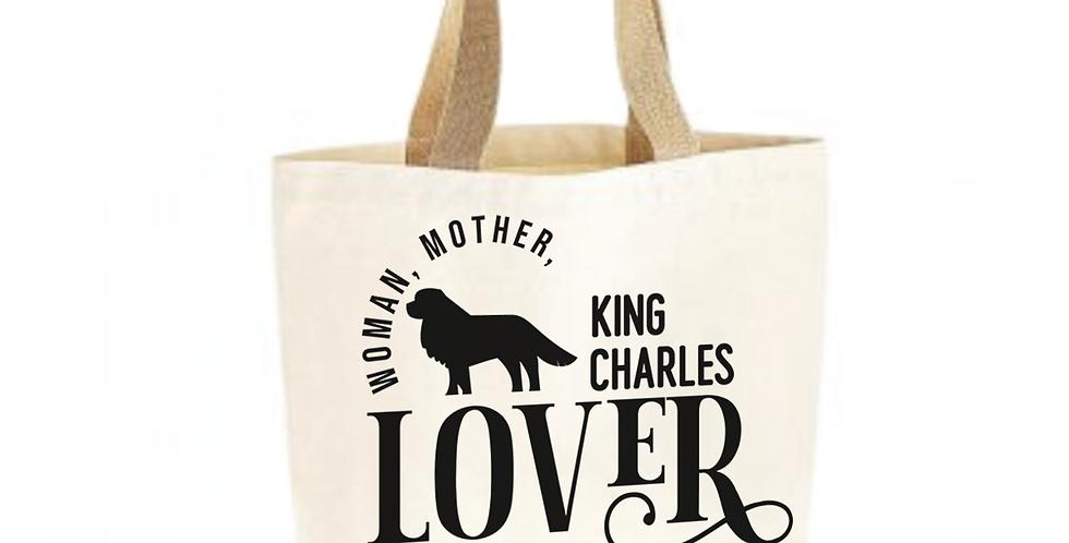 Classic Jute & Canvas King Charles Shopper
