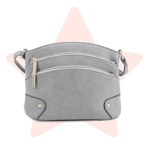 Cute Grey Triple-Zip Bag