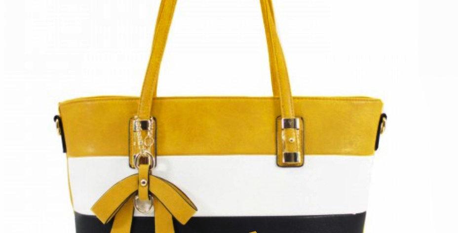 Dog Stripe Shoulder Bag - Mustard