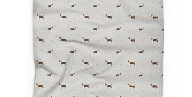 Grey Cotton Linen Tea Towel - Busy Beagles
