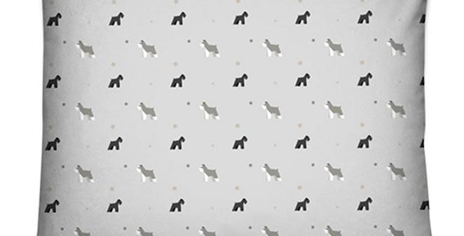 Grey Dog Bed Cushion - Snazzy Schnauzers