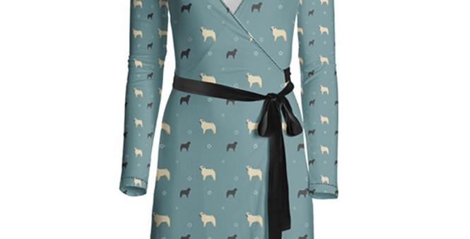 Multi Print Wrap Dress - Perfectly Pug