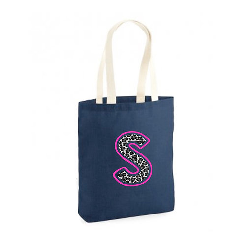 Navy Leopard Initial Tote Bag